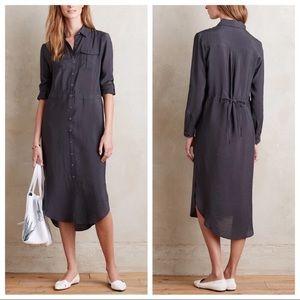 Anthropologie Maeve dark gray shirt dress